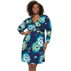 Plus Size Suite 7 Twist Front Long Sleeve Dress