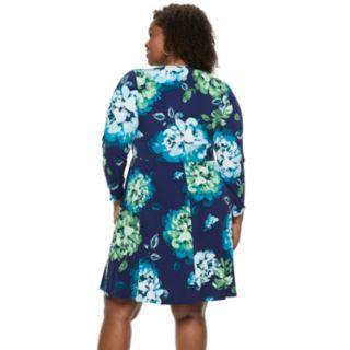 Plus Size Suite 7 Twist Front Long Sleeve Dress