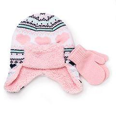 Toddler Girl Fairisle Trapper Hat & Mittens Set