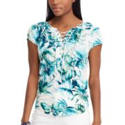 Petite Chaps Print Lace-Up Top