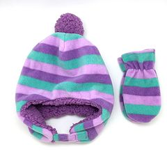 Toddler Girl Striped Fleece Hat & Mittens Set