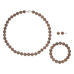 Sterling Silver Agate Bead Necklace Bracelet & Earring Set