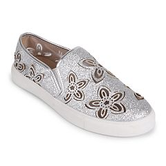 Wanted Women's Lasercut Glitter Slip-On Sneakers