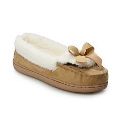 Women's SONOMA Goods for Life™ Faux-Fur Lined Microsuede Moccasin Slippers