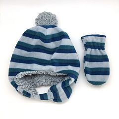 Toddler Boy Striped Fleece Hat & Mittens Set
