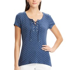 Women's Chaps Print Lace-Up Tee