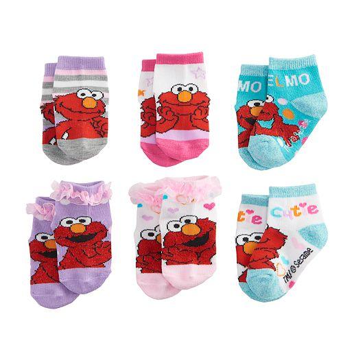 Toddler Girl 6-pack Sesame Street Elmo Ruffle Socks