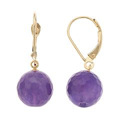 14k Gold Agate Drop Earrings