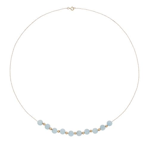 14k Gold Aquamarine Beaded Necklace