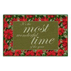Brumlow Mills Most Wonderful Time Poinsettia Printed Rug
