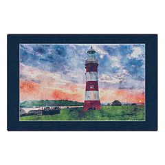 Brumlow Mills Lighthouse at Sunset Nautical Beach Printed Rug
