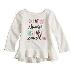 Baby Girl Jumping Beans® Graphic Ruffle Peplum Tee