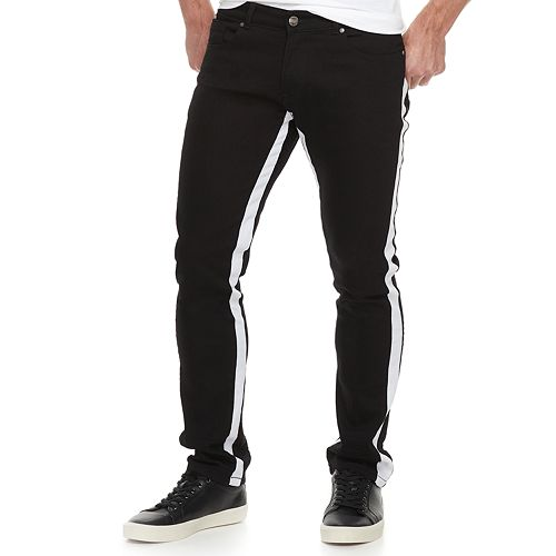 Men's RawX Slim-Fit Contrast Side-Striped Stretch Jeans