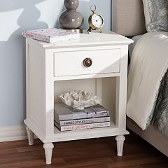 Baxton Studio Venezia Whitewash 1-Drawer Nightstand