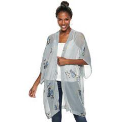 Women's Apt. 9® Fall Bouquet Print Chiffon Kimono