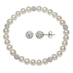 Kids' Sterling Silver Freshwater Cultured Pearl & Crystal Stretch Bracelet & Stud Earring Set