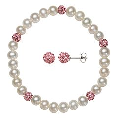 Kids' Sterling Silver Freshwater Cultured Pearl & Pink Crystal Stretch Bracelet & Stud Earring Set