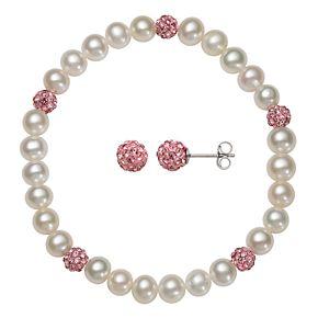 Kids' Sterling Silver Freshwater Cultured Pearl & Pink Crystal Stretch Bracelet & Stud Earring Set
