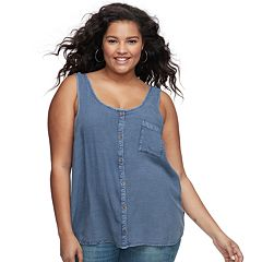 Juniors' Plus Size Mudd® Button-Front Tank
