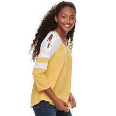 Juniors' SO® Lace-Up Shoulder Baseball Tee