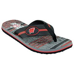 Men's Wisconsin Badgers Striped Flip Flop Sandals