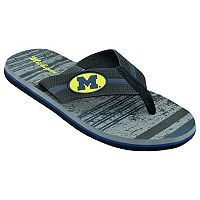Men's Michigan Wolverines Striped Flip Flop Sandals