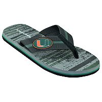 Men's Miami Hurricanes Striped Flip Flop Sandals