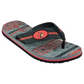 Men's Louisville Cardinals Striped Flip Flop Sandals