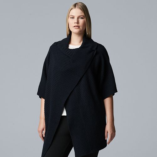 Plus Size Simply Vera Vera Wang Wrap-Up Flyaway Sweater