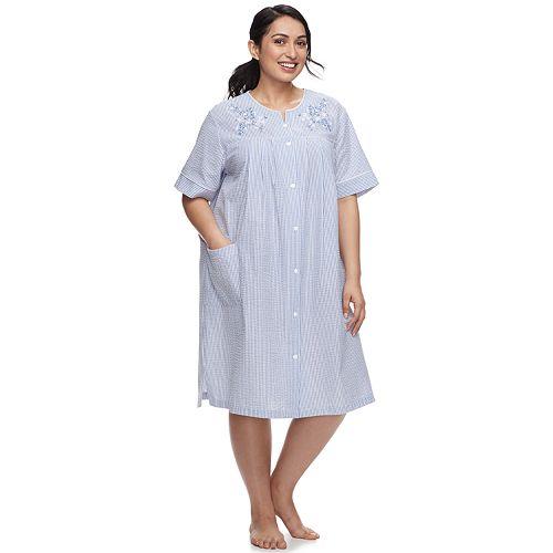 Plus Size Miss Elaine Essentials Short Seersucker Robe