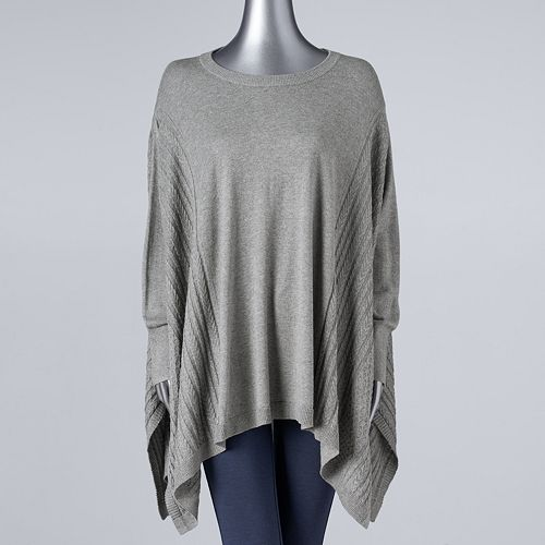 Plus Size Simply Vera Vera Wang Cable-Knit Poncho