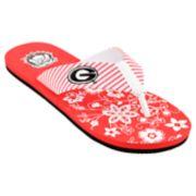 Women's Georgia Bulldogs Floral Flip Flop Sandals