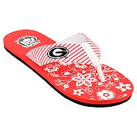 Women's Georgia Bulldogs Floral Flip Flop Sandals