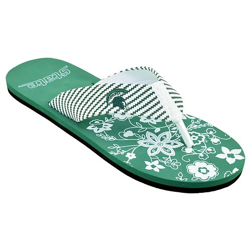 Women's Michigan State ... Spartans Floral Flip Flop Sandals Vw2xNY9wS