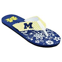 Women's Michigan Wolverines Floral Flip Flop Sandals