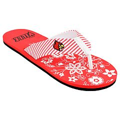 Women's Louisville Cardinals Floral Flip Flop Sandals