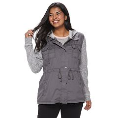 Juniors' Plus Size Mudd® Knit Sleeve Utility Jacket
