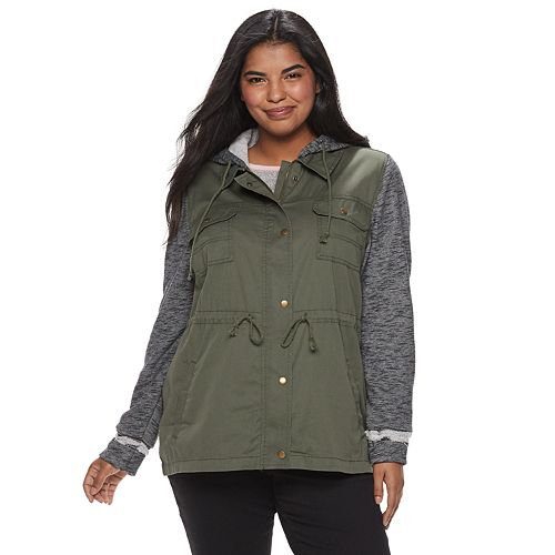 45e27b272246f Juniors  Plus Size Mudd® Knit Sleeve Utility Jacket