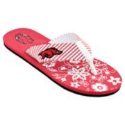 Women's Arkansas Razorbacks Floral Flip Flop Sandals