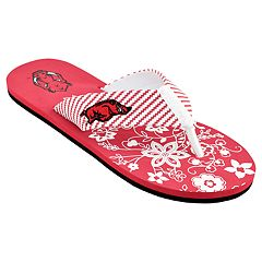 Women's Arkansas Razorbacks Floral Flip Flop Sandals