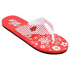 Women's Wisconsin Badgers Floral Flip Flop Sandals