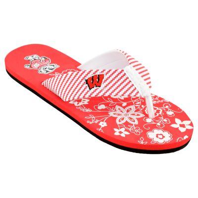 Women's Wisconsin Badgers ... Floral Flip Flop Sandals