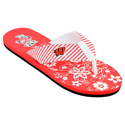 buy cheap in China really Women's Wisconsin Badgers ... Floral Flip Flop Sandals discount new cheap sale low cost mZ52L