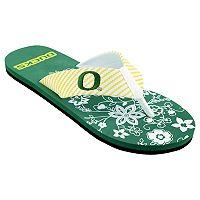 Women's Oregon Ducks Floral Flip Flop Sandals