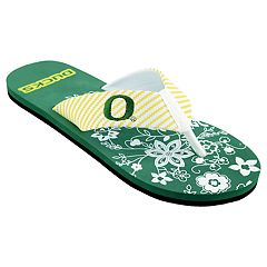 Women's Oregon Ducks Floral Flip Flop Sandals