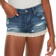 Juniors' Almost Famous Mid-Rise Destructed Crochet Denim Shorts