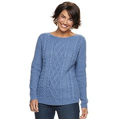 Petite Croft & Barrow® Cable-Knit Boatneck Sweater