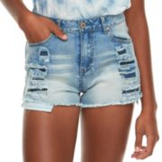 Juniors' Almost Famous High-Waisted Frayed Rip & Repair Denim Shorts