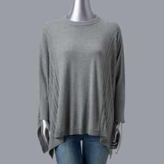 Petites Simply Vera Vera Wang Cable Knit Poncho Sweater