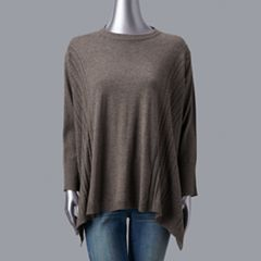 Petites Simply Vera Vera Wang Cable Knit Poncho Sweater